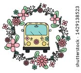 Hippie Van With Floral Print...