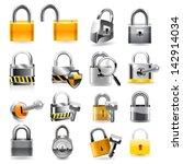 lock icon set. vector | Shutterstock .eps vector #142914034