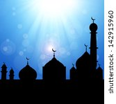 black silhouette of a mosque on ... | Shutterstock . vector #142915960