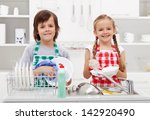 happy kids helping in the... | Shutterstock . vector #142920490