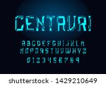 tech hologram alphabet font in...