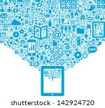 tablet   social media icons | Shutterstock .eps vector #142924720