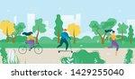 cartoon flat active people city ... | Shutterstock .eps vector #1429255040