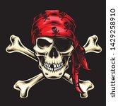 pirate skull crew vector logo | Shutterstock .eps vector #1429258910