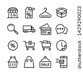 outline icons about shopping.... | Shutterstock .eps vector #1429290023