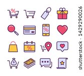 outline icons about shopping.... | Shutterstock .eps vector #1429290026