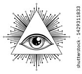 blackwork tattoo flash. eye of... | Shutterstock .eps vector #1429311833