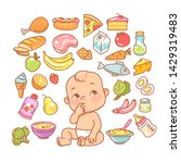 Cute little baby in diaper looking up. Curios child with finger in mouth choosing food. Healthy meal for children. Cartoon set with isolated fruits, vegetables, meat, milk. Kid's menu infographic.