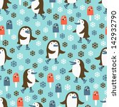 penguin seamless background | Shutterstock .eps vector #142932790