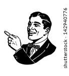 man pointing 2   retro clip art ... | Shutterstock .eps vector #142940776