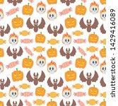 seamless halloween pattern. bat ...   Shutterstock .eps vector #1429416089