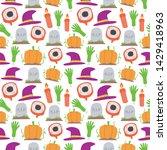 seamless halloween pattern. eye ...   Shutterstock .eps vector #1429418963