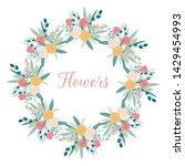 vector circle frame flowers on... | Shutterstock .eps vector #1429454993