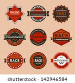 racing badges   vintage style.... | Shutterstock . vector #142946584