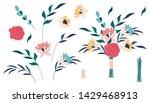 flower pink rose  green leaves. ... | Shutterstock .eps vector #1429468913