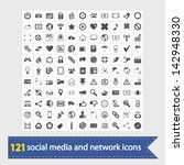 social media and network icons. ... | Shutterstock . vector #142948330
