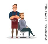 stylish hairdresser cutting... | Shutterstock .eps vector #1429517063