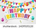 color glossy balloons birthday... | Shutterstock .eps vector #1429535120