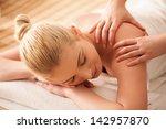 young woman enjoying a back... | Shutterstock . vector #142957870