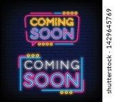 set coming soon neon sign... | Shutterstock .eps vector #1429645769