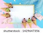 ice cream on blue background.... | Shutterstock . vector #1429647356