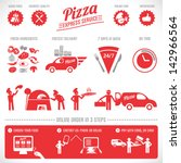 pizza elements  fast delivery... | Shutterstock .eps vector #142966564