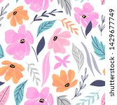 hand drawn floral seamless... | Shutterstock .eps vector #1429677749