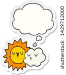 cartoon sun and cloud with... | Shutterstock .eps vector #1429712000