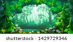 forest scene with deciduous... | Shutterstock .eps vector #1429729346
