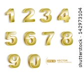 gold grunge 3d numbers set... | Shutterstock .eps vector #142973104