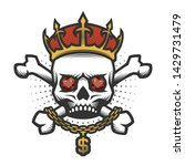 skull with a crown and a gold... | Shutterstock .eps vector #1429731479
