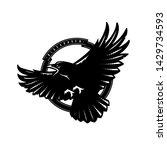 black raven in flight  logo ... | Shutterstock .eps vector #1429734593