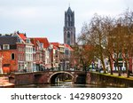 Utrecht, Netherlands. View of old town with Dom Tower in Utrecht, Netherlands during the cloudy day