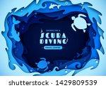 paper art of scuba diving ... | Shutterstock .eps vector #1429809539