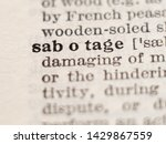 Small photo of Dictionary definition of word sabotage, selective focus.