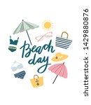 cute summer doodle. beach...   Shutterstock .eps vector #1429880876