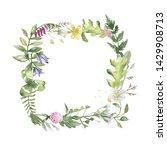 flower wreath with watercolor... | Shutterstock . vector #1429908713