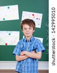 young elementary schoolboy with ... | Shutterstock . vector #142995010