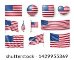 various american flags set... | Shutterstock .eps vector #1429955369