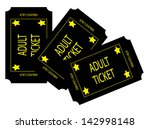 three black adult tickets | Shutterstock . vector #142998148