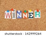 the word winner in cut out... | Shutterstock . vector #142999264