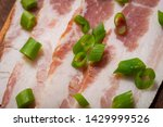 uncured apple smoked bacon...   Shutterstock . vector #1429999526