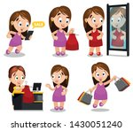 set of shopping steps with... | Shutterstock .eps vector #1430051240