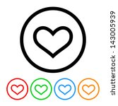 Heart Outline Icon Vector With...
