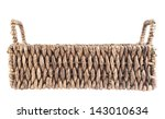Brown wicker basket, box shaped, side view, isolated over white background - stock photo