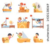 cute creative kids playing toys ... | Shutterstock .eps vector #1430138069