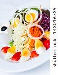 boiled egg salad on the white...   Shutterstock . vector #143016739