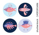 set of fishes  sea creatures | Shutterstock .eps vector #1430181686