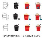 a bucket of sand with a shovel... | Shutterstock .eps vector #1430254193