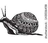 Vector illustration of a totem tattoo animal - Snail - in black and white color - stock vector
